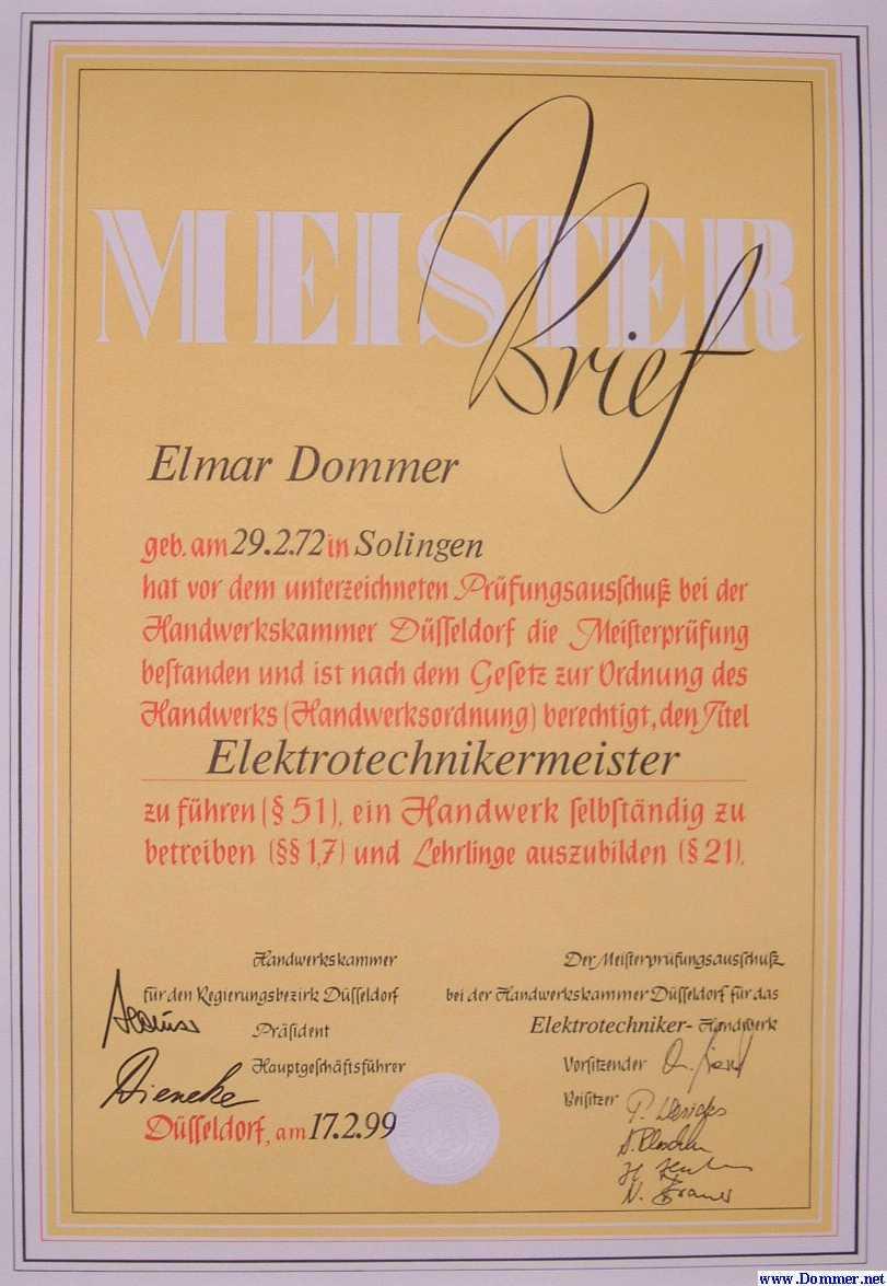 Meisterbrief - Elmar Dommer - Elektrotechnikermeister - Meisterprüfung - Handwerksordnung - Handwerkskammer Düsseldorf